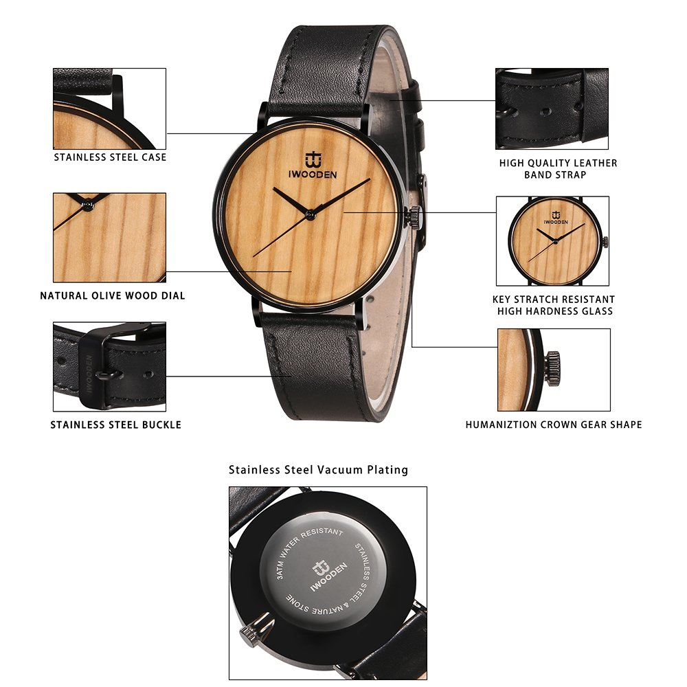 IWOODEN Wooden Watch for Men Wrist Watch Wooden Wristwatch with Leather Strap Natural Bamboo Wood Watch Gift for Groomsmen by IWOODEN (Image #4)