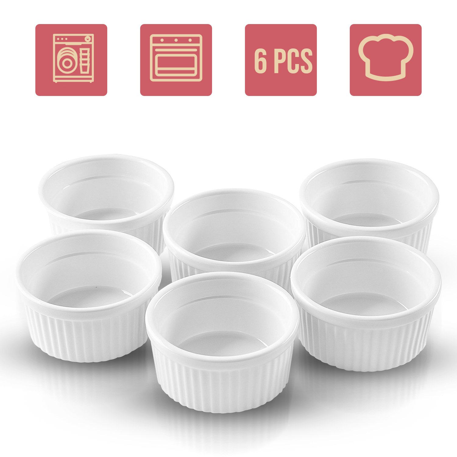 Ramekins for Baking as Creme Brulee Dishes - 4 oz Small Bowls Perfect as Baking, Pudding, Sauce, Souffle, Dipping, Custard Cups Dish and Flan Mold, Small Bowls, Dessert Cups, Ramekin Set of 6 Pieces