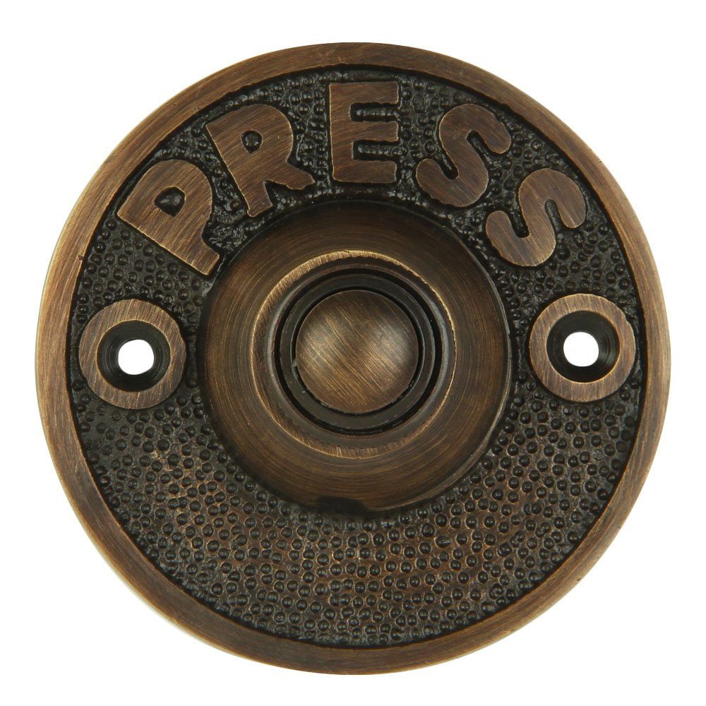"""Wired Iron Circular Doorbell Chime Push Button in Oil Rubbed Bronze Finish Vintage Decorative Door Bell with Easy Installation, 2 5/8"""" diameter"""
