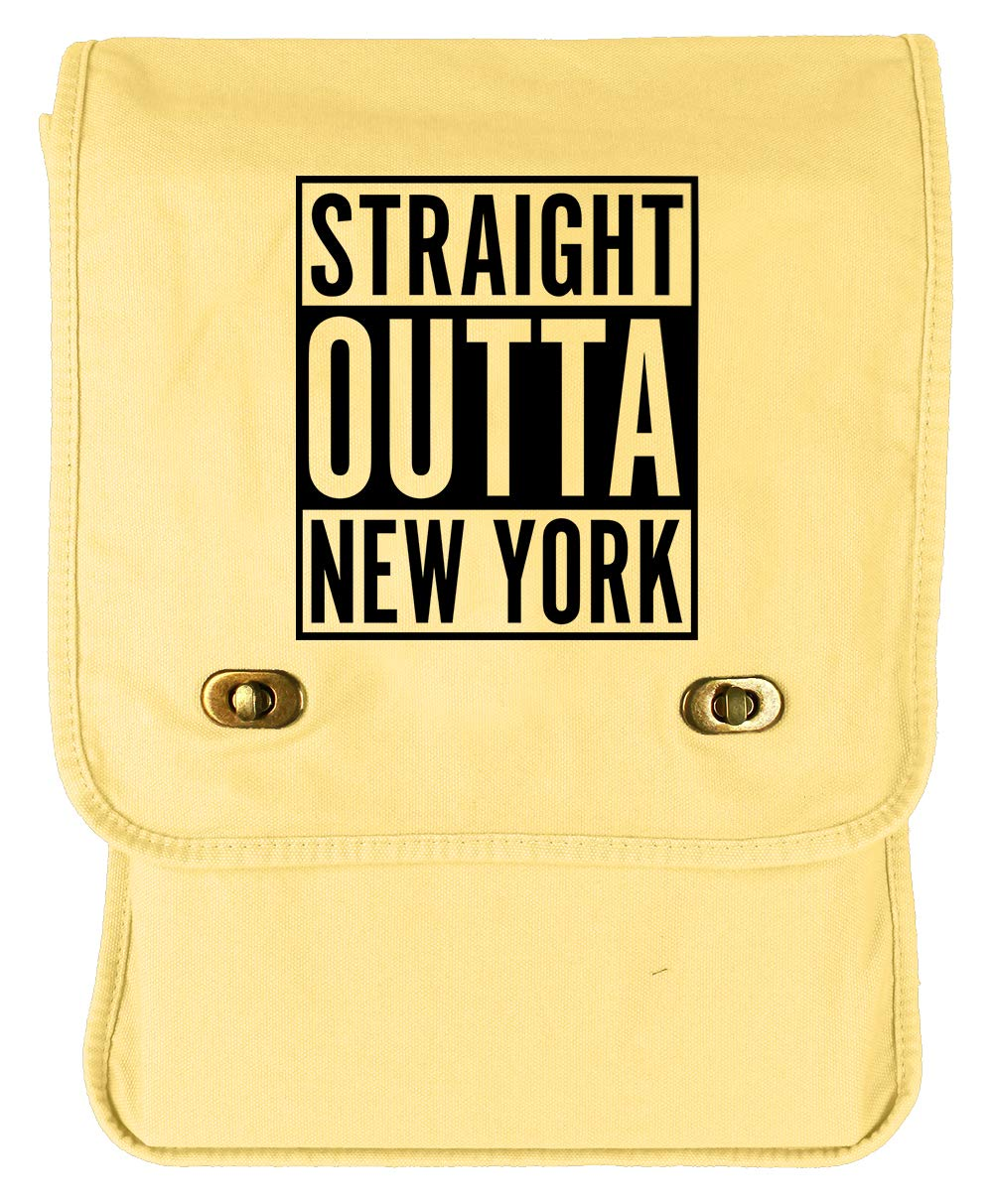 Tenacitee Straight Outta New York Khaki Green Raw Edge Canvas Messenger Bag