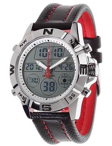 DeTomaso DT1009-A - Reloj de Cuarzo para Hombre, Correa de Piel Color Negro, Esfera Digital Plateada: Amazon.es: Relojes