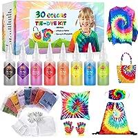 Emooqi Tie Dye Kit, Textiles de Tela 30 piezas Colores Vibrantes Adecuado para Arte de Bricolaje Tie-Dye para Niños y…