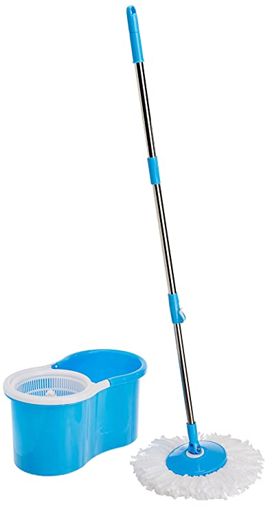 Houseables 360 Degree Spin Mop with 2 Microfiber Heads (Color May Vary)