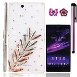 USA                  FiMeney             Sony Xperia Z Ultra XL39h   C6802    C6806   C6833     ハードケース/保護カバー/デコケース/ジャケット                           ミモザ                        キラキララインストーンを飾る                                          最高プレゼント                       キュートな桜と蝶のピアス一個ずっつ スタイラスペン一つをおまけます!!!!!!