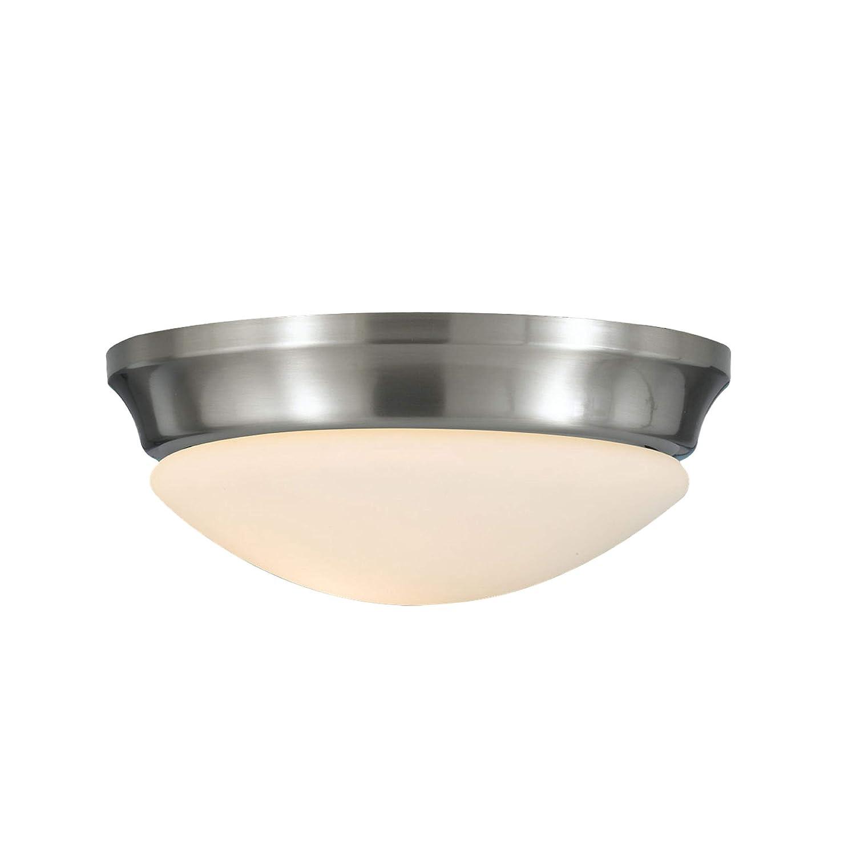 75watts 1-Light Feiss FM271BS Barrington Glass Flush Mount Ceiling Lighting 1-Light Satin Nickel 10Dia x 4H 10Dia x 4H 75watts