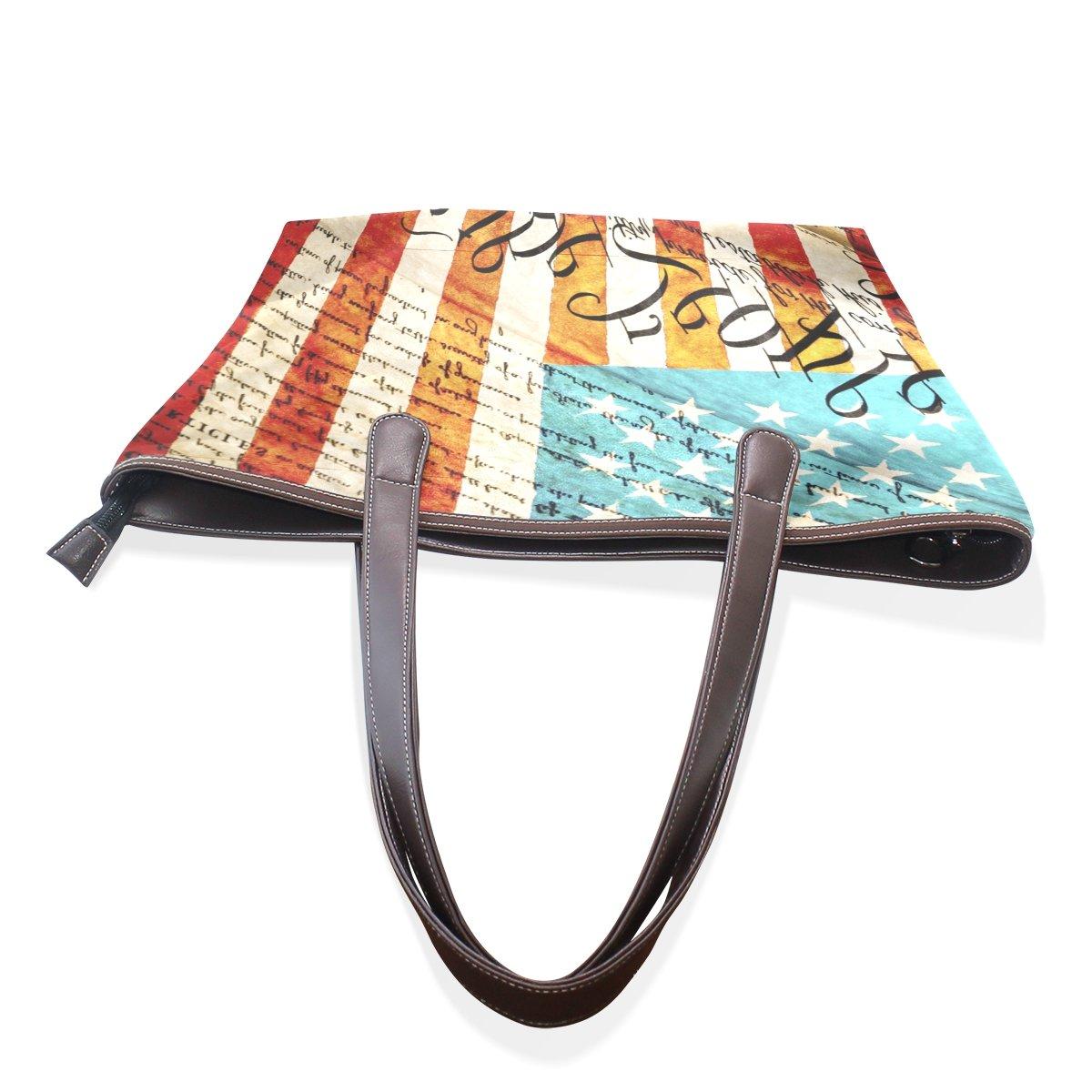 DEYYA American Flag Handbag Tote Shoulder Bags PU Leather Large Shopping Bag for Women Girls