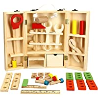 Wooden Kids Tool Box, Kids Play Tools Toolbox for Toddlers