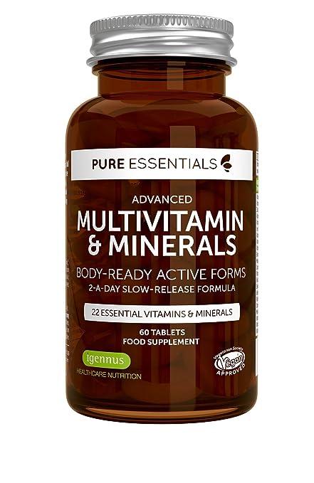 Multivitaminas y Minerales Avanzados Pure Essentials | Formas activas preparadas para el cuerpo que incluyen folato