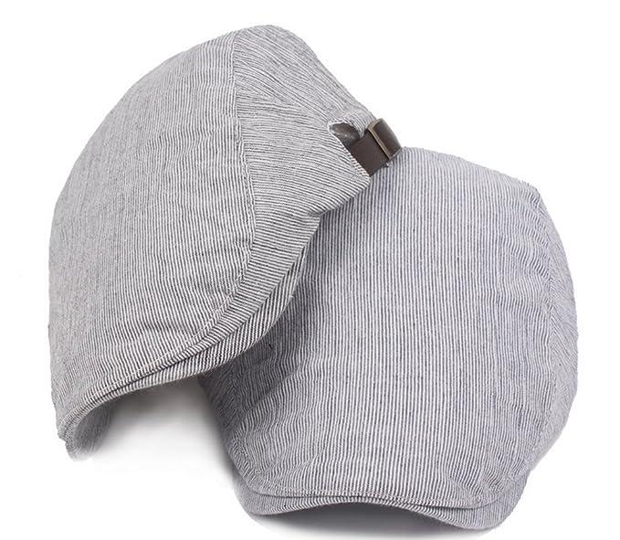 JUNGEN Sombrero unisex Gorra de pato de moda a rayas de estilo Sombrero de boina  gorro de sol al aire libre de protección solar para el verano (Azul Claro)   ... 76864e598fb