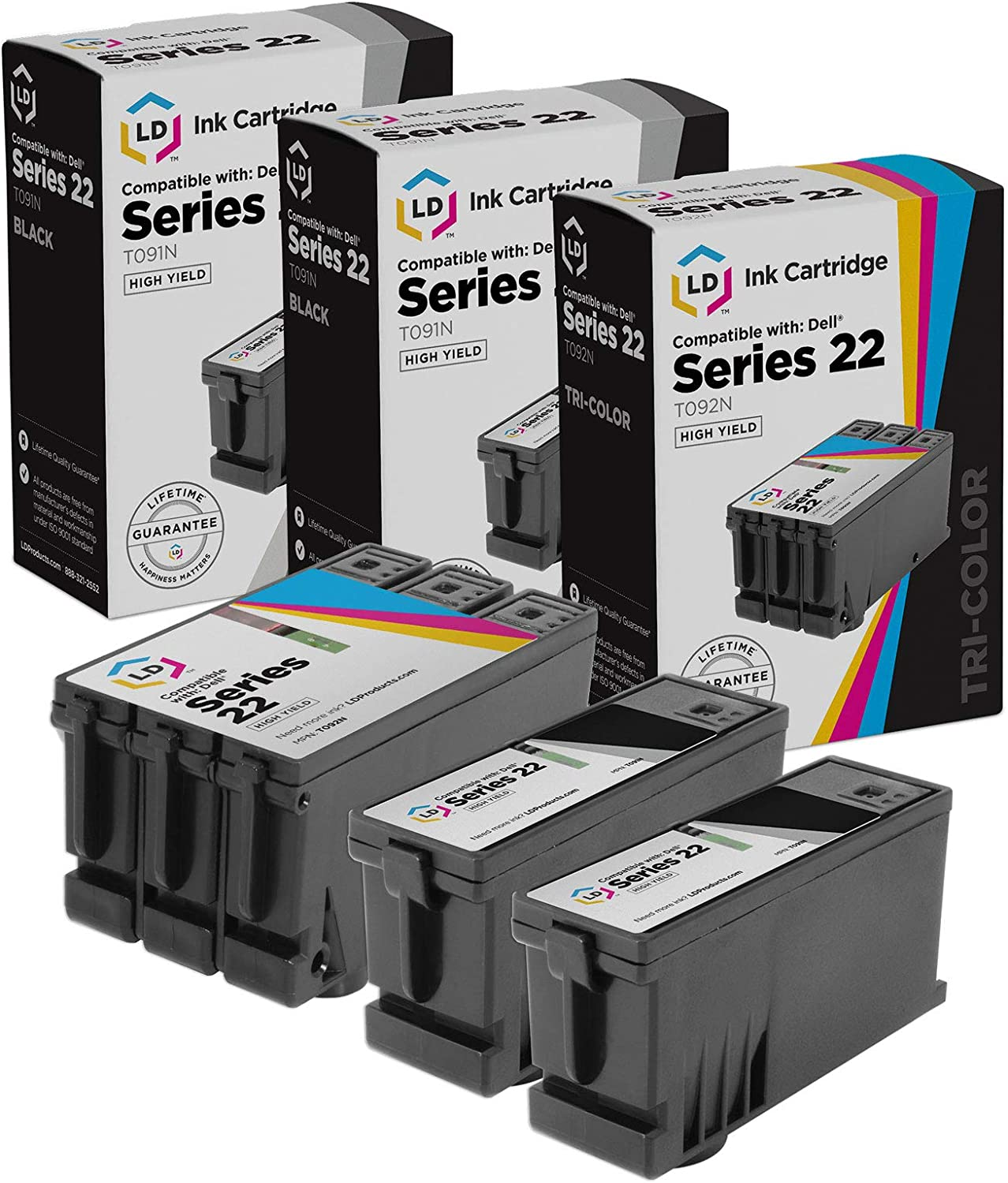 LD Compatible Ink Cartridge Replacement for Dell T091N & T092N Series 22 High Yield (2 Black, 1 Color, 3-Pack)