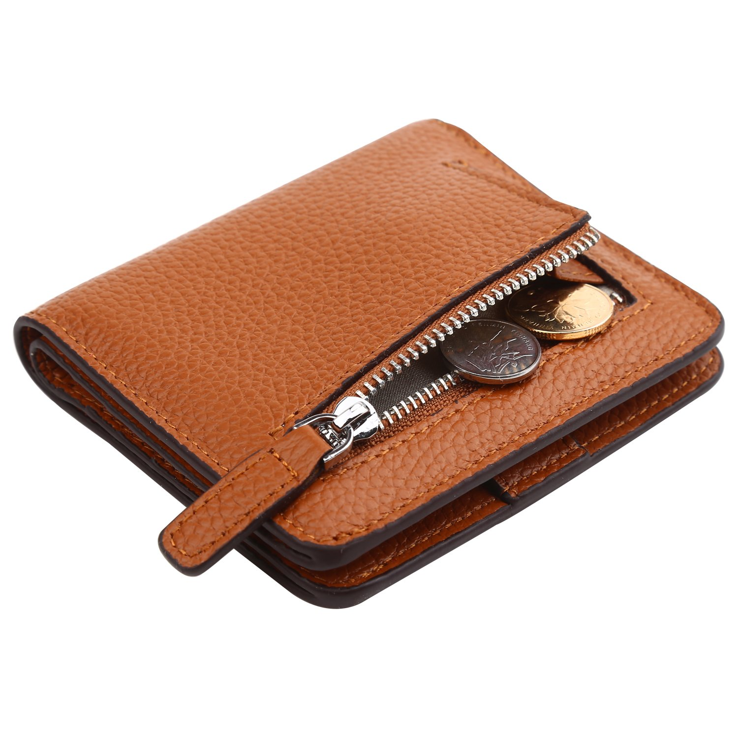 Dante Women's RFID Blocking Small Compact Bifold Leather Pocket Wallet Ladies Mini Purse(Pebble Brown)