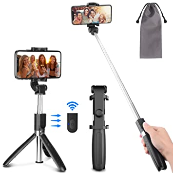PEYOU Selfie Stick Tripod With Rechargeable Bluetooth Remote Shutter, 3 in  1 Mini Extendable Monopod 360° Rotation Compatible for iPhone X XS MAX 6 7