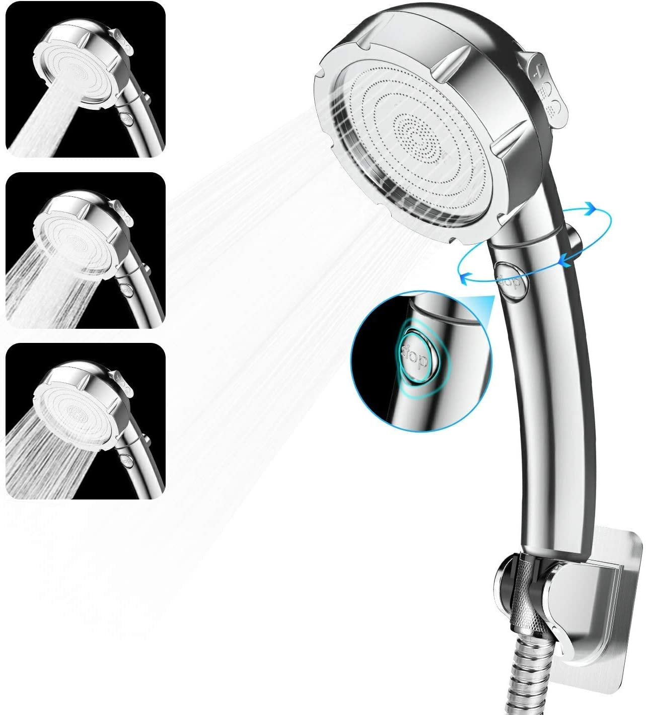 Handheld Shower Head High Pressure 3 Spray Setting ON//OFF Pause Water Saving