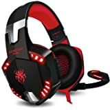 Cuffie Gaming PS4 KINGTOP KG2000 Cuffie Da Gaming Con Microfono LED Luce Regolatore di Volume Per PlayStation 4 PC Xbox One S Nintendo Switch Cellulari, Rosso e Nero