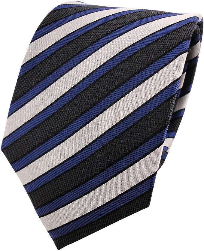 ohne Markenname Corbata de seda de raso - azul antracita plata ...