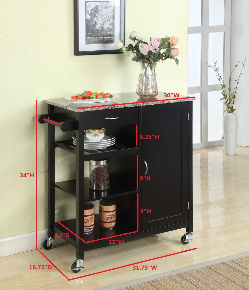 Amazon.com: Kingu0027s Brand Black Finish Wood U0026 Marble Finish Top Kitchen  Storage Cabinet Cart: Kitchen U0026 Dining