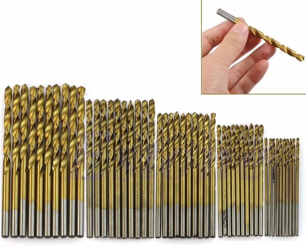 yuanhaourty 50Pcs Titanium Coated Drill Bit Set 1//1.5//2//2.5//3mm High Speed Steel Tool