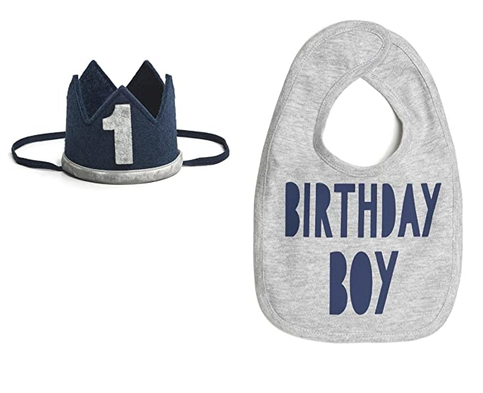 Amazon 1st Birthday Boy Party Bib And 1 Felt Crown Hat