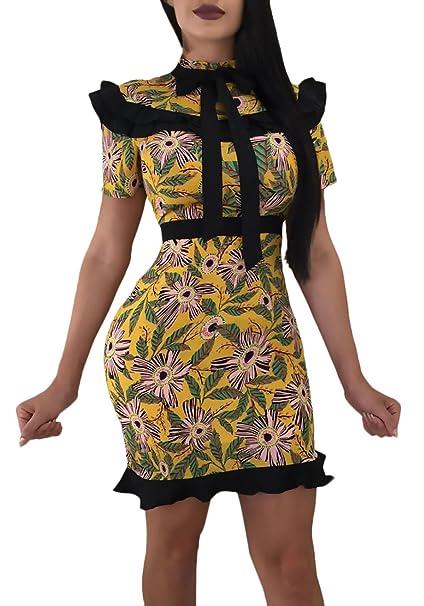 Mujer Vestido Mujer Fiesta Cortos Vintage Fashion Floreadas Vestidos De Noche Largo Corto Arm con Volantes Slim Fit Fit Paquete De Cadera Elegante Único ...