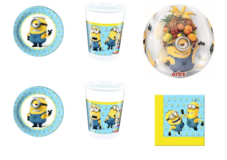 Cdc -kit n°38 festa e party Cattivissimo Me Minions - (16 piatti, 16 bicchieri, 20 tovaglioli, 1 Pallone foil ORBZ )
