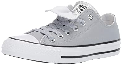 8eab05cd3ca491 Converse Women s Chuck Taylor All Star Double Tongue Glitter Low Top  Sneaker Wolf Grey White