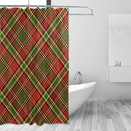 LUCASE LEMON ALEX Christmas Red Green Plaid Shower Curtain Set Home Decoration Polyester Waterproof Fabric Bathroom