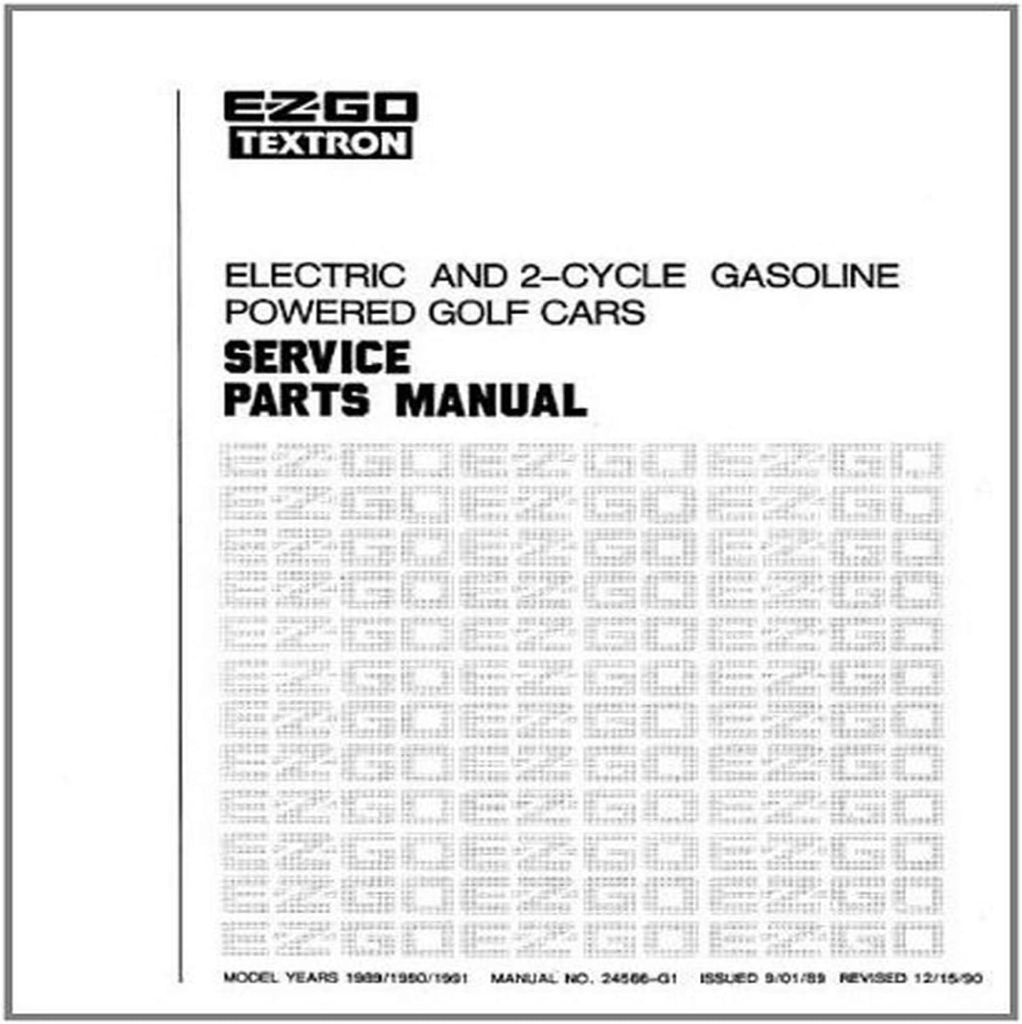 E Z Go 24566g1 1989 1991 Parts Manual For Electric And 2 Cycle Golf Cars Amazon Ca Patio Lawn Garden
