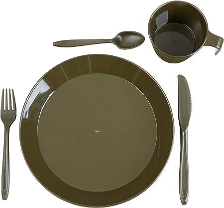 Set de vajilla de camping compuesto de cubiertos, plato y ...