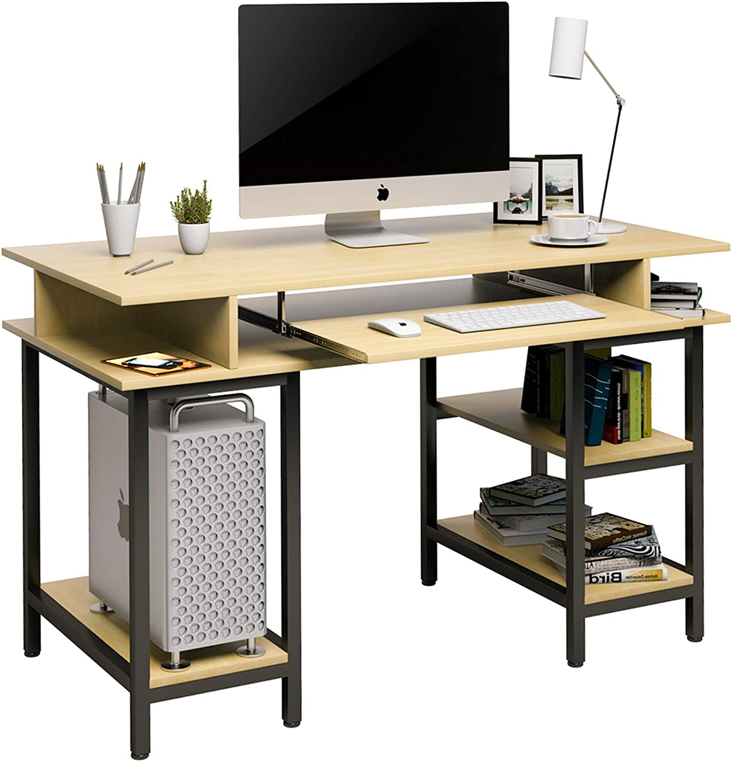 Mecor Computer Desk Study Writing Table for Home Office with 4 Storage Positions, and Keyboard Tray Computer Office Desk PC Laptop Table Study Work-Station Home Office Furniture