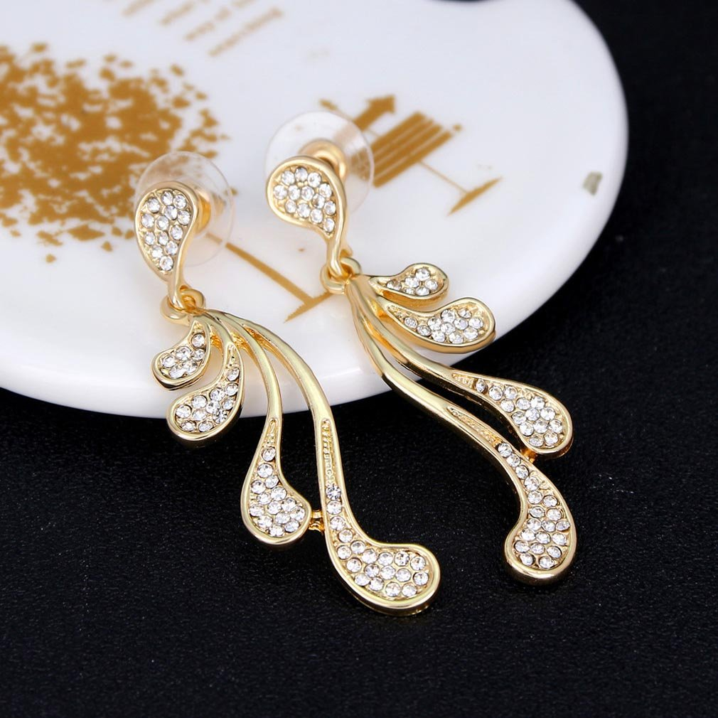 YAZILIND gold plated special cubic zirconia rhinestone drop dangle earrings shiny party Jewelry