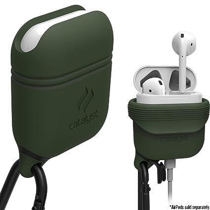 Catalyst Silicon Airpods Case, Funda Cascos bluetooth inalámbricos auriculares con mosqueton, Verde