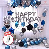 Party Propz Happy Birthday Letter Foil Balloon Set of Silver + Pack of 60 HD Metallic Balloons (Blue, Black and Silver…