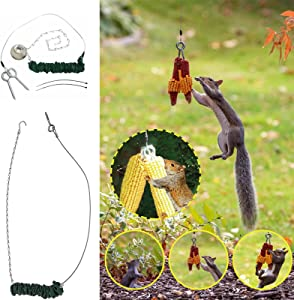Squirrel Feeder Squirrel Bungee Jumping Toys for Feeding 62.3'' Elastic Bungee Rope Cord Funny Squirrel Feeding Tools Suitable for Garden Courtyards Backyard Decorations Hanging Food Corns
