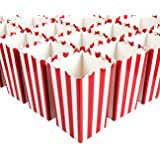 Set of 50 Popcorn Favor Boxes - 46oz Large Paper Popcorn Candy Containers, Party Supplies for Movie Night, Birthday, Baby Shower, Carnival Parties, Classic Red and White Stripes - 3.7 x 7.8 x 3.7 Inch