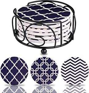 Blue Coasters for Drinks Absorbent Ceramic Stones with Holder & Cork Back - 6 Pieces for Stain-Free Furniture, Ideal Housewarming Gift & Home Decor - Mix Patterns of Chevron, Moroccan & Trellis