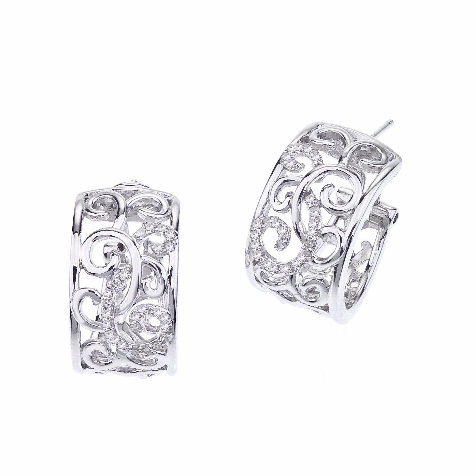 Diamond Huggie Earrings in Sterling Silver (0.25cts)
