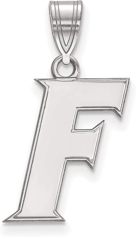 14k White Gold University of Florida Gators School Letter Logo Pendant 17x11mm