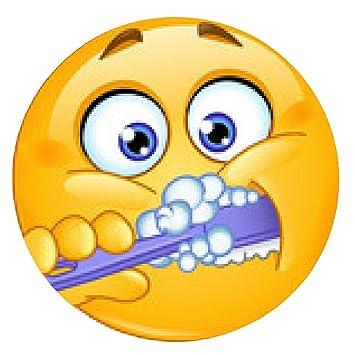 alfombrilla de ratón emoticon dientes cepillado - ronda - 20cm