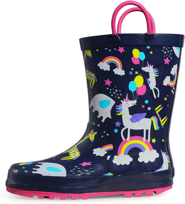 Waterproof Rubber Printed with Handles K KomForme Kids Boy Rain Boots