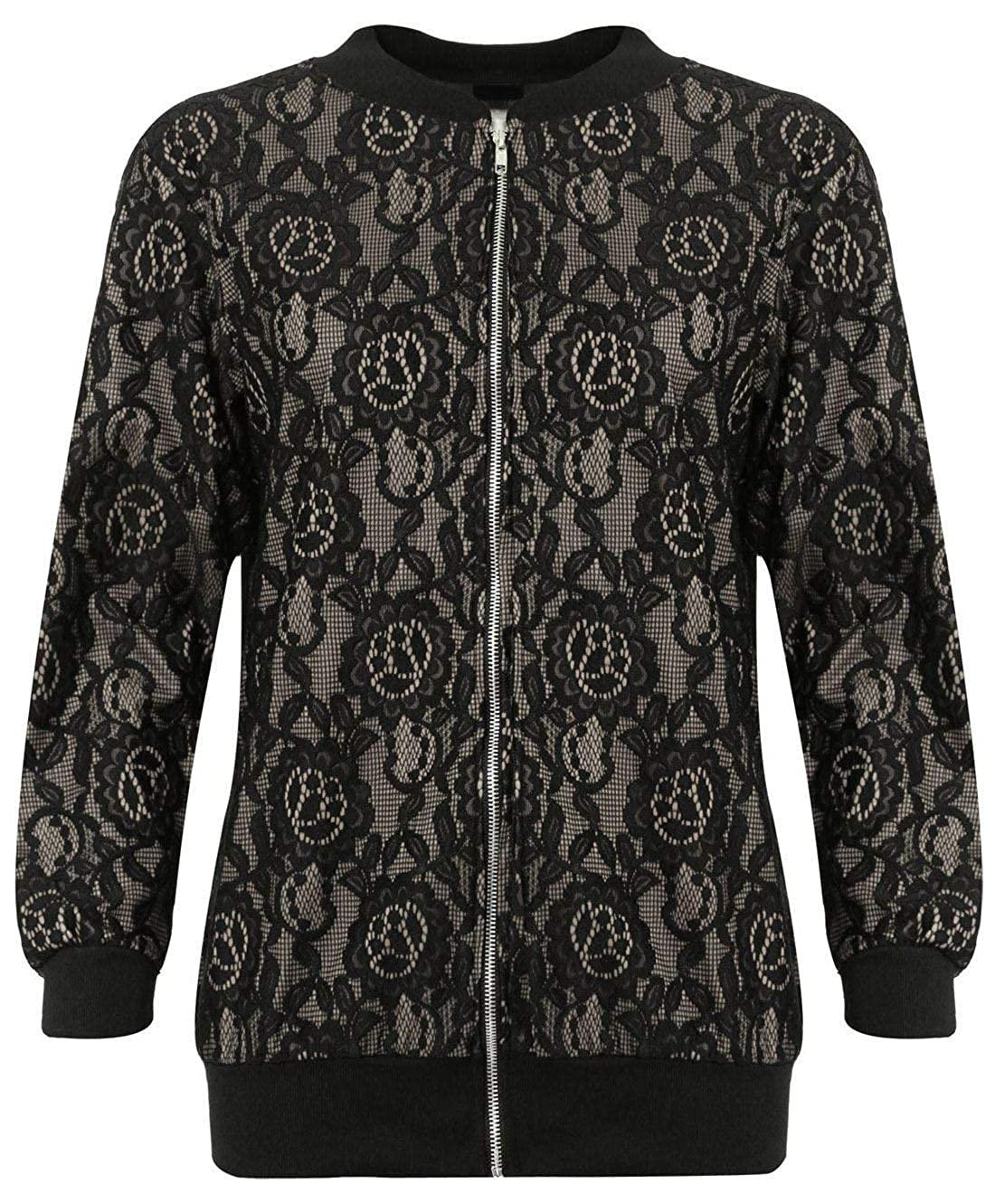 REAL LIFE FASHION LTD Womens Floral Lace Zip Up Elasticated Bomber Jacket Ladies Long Sleeve Jacket