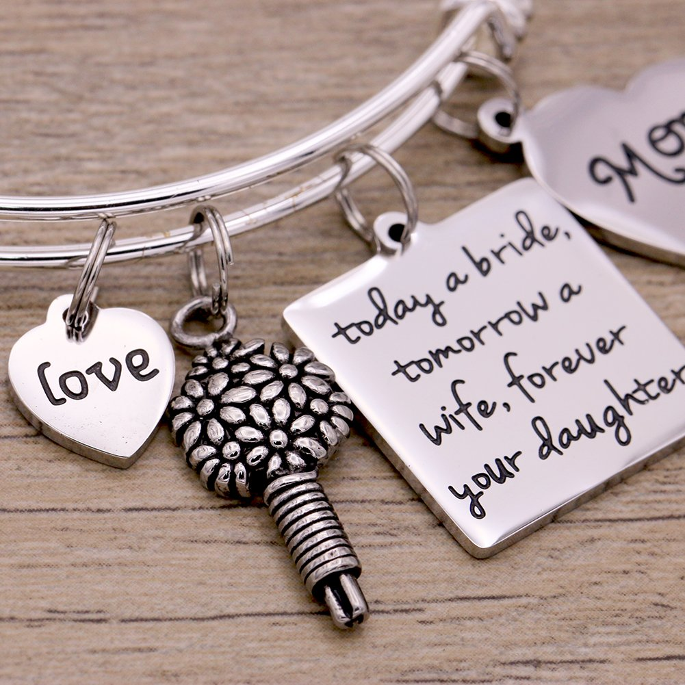 Melix Home Today A Bride Tomorrow A Wife , Forever Your Daughter , Mom Braccelet (White) by Melix Home (Image #3)
