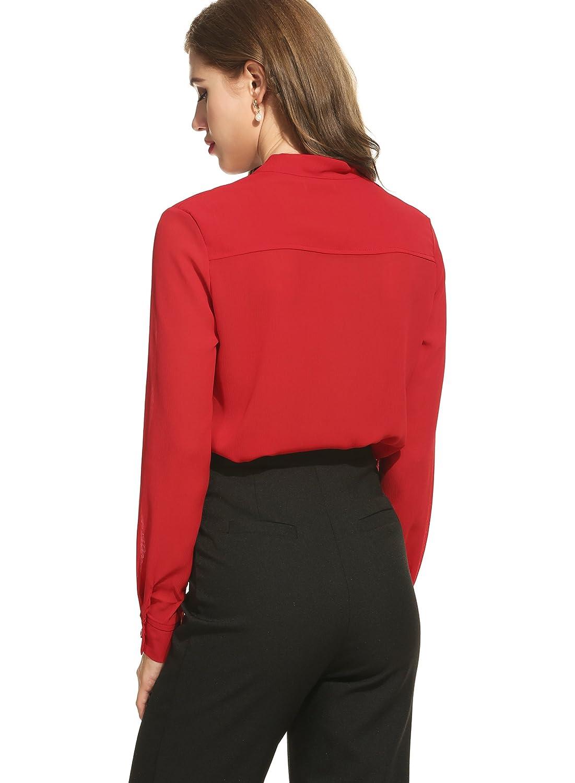 ACEVOG Womens Casual Chiffon Ladies V-Neck Cuffed Sleeve Blouse Tops