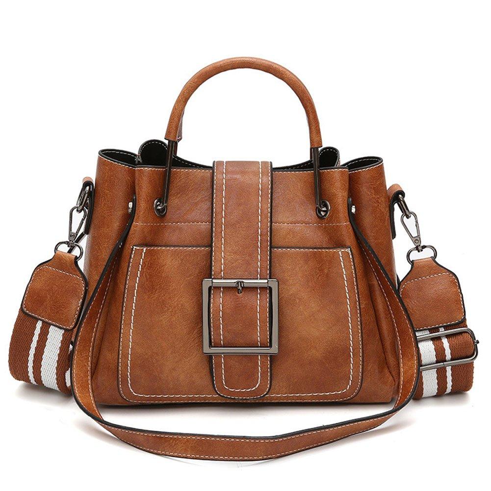 Retro Oil Wax Leather Women's Satchel Purses Fashion Handbags Ladies Tote Bags Purple