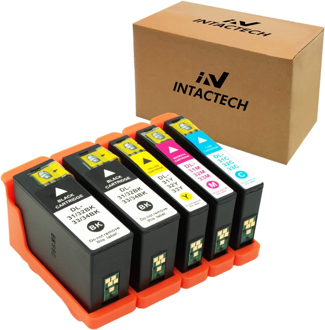 Intactech Compatible Dell Series 31 32 33 34 Ink Cartridges Work for Dell V525w V725w Printer (5 Pack, 2 Black, 1 Cyan, 1 Magenta, 1 Yellow)