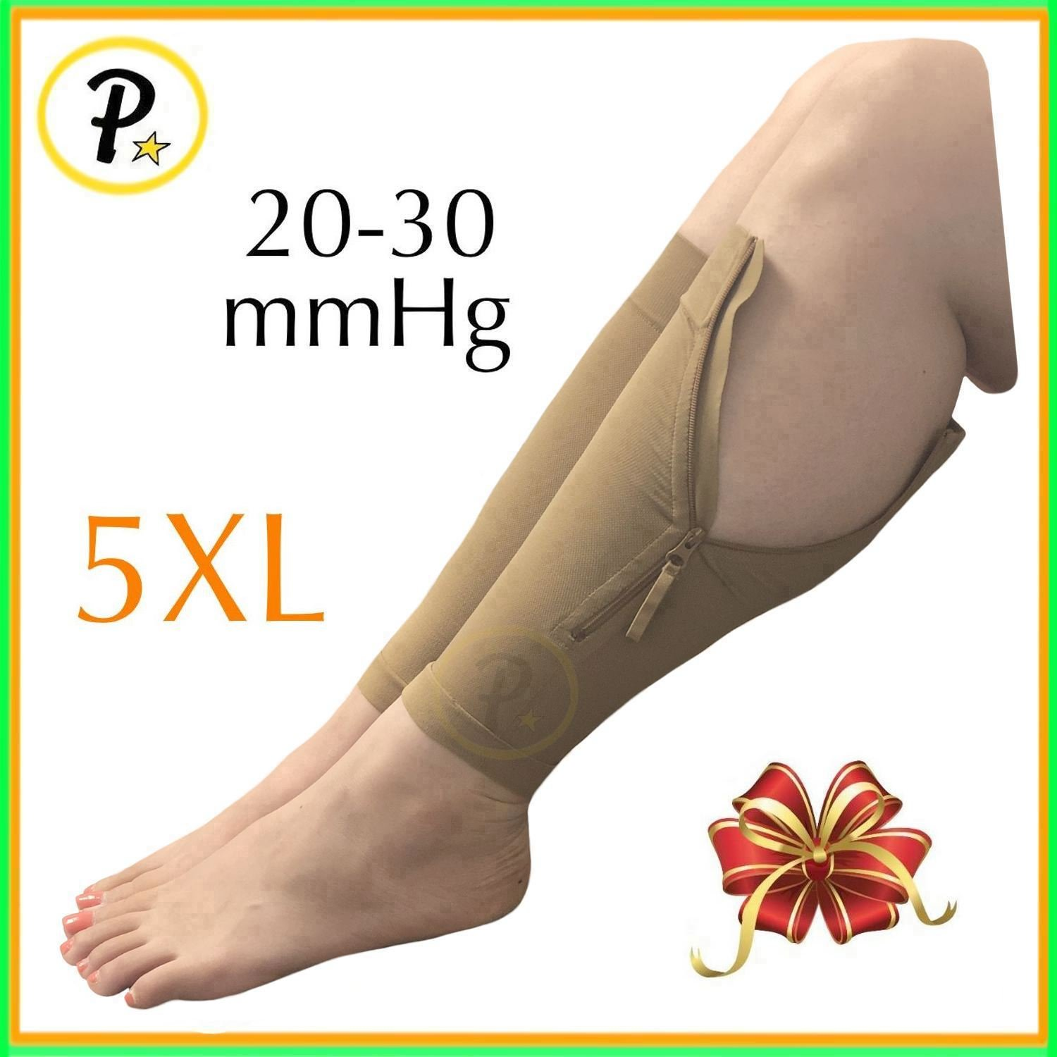 Presadee New Big Tall Calf Sleeve with Zipper 20-30 mmHg Compression Extra Wide Shin Energize Leg Swelling Circulation (Beige, 5XL)