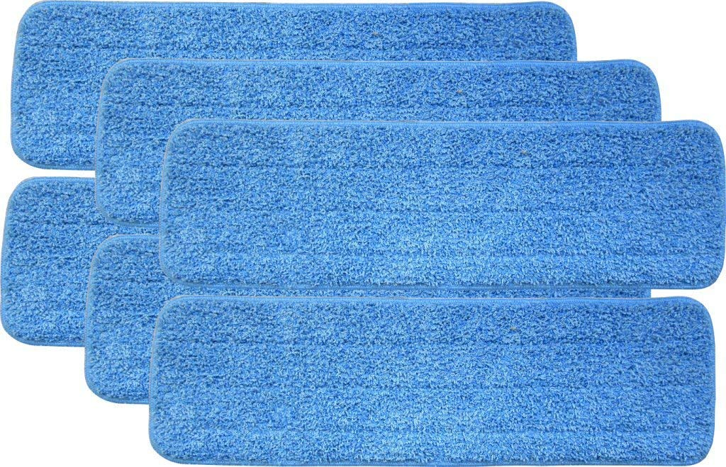 """Microfiber Mop Pads 18"""" x 5"""" Reusable Pros Head Wet Dry Mops Refill Fit for Most Spray Mops and Reveal Mops - 6 Pack"""