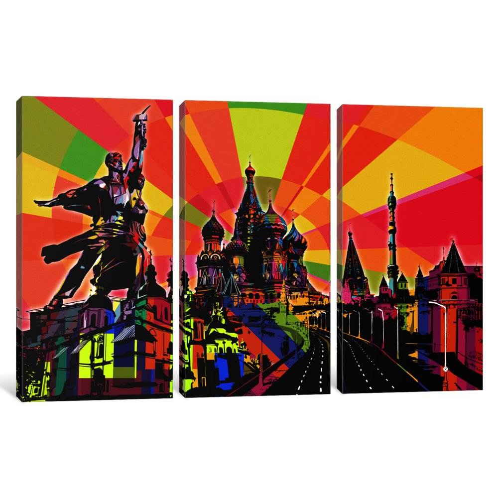 iCanvasART 3 Piece Moscow Psychedelic Pop Canvas Print by Dark Lord 60 x 40//1.5 Deep