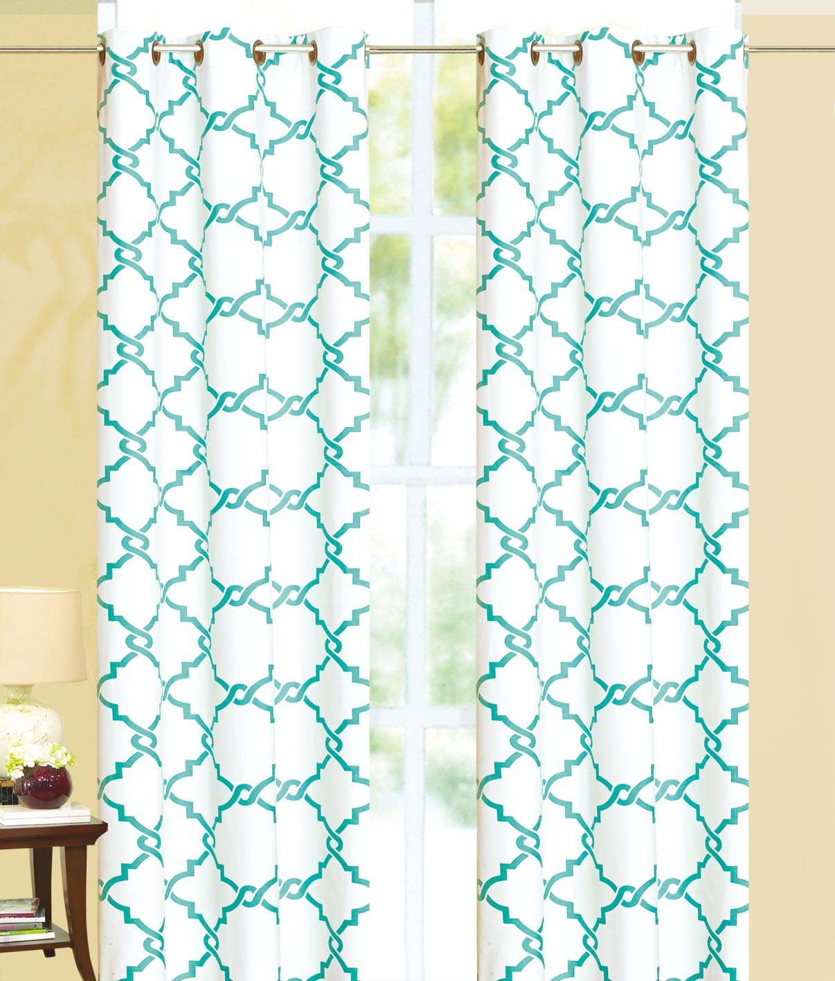 White/Turquoise Geometric Modern Print Insulated 100% Thermal Blackout Window Grommet Curtain Panel