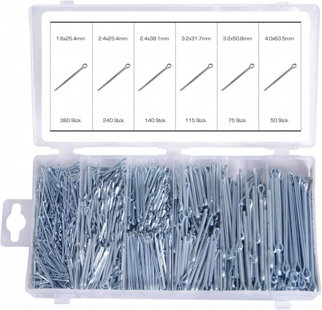 1000 Sicherungs-Splint Sortiment Gerade 25-64 MmØ1,6-4 Set Sicherungsstifte Satz