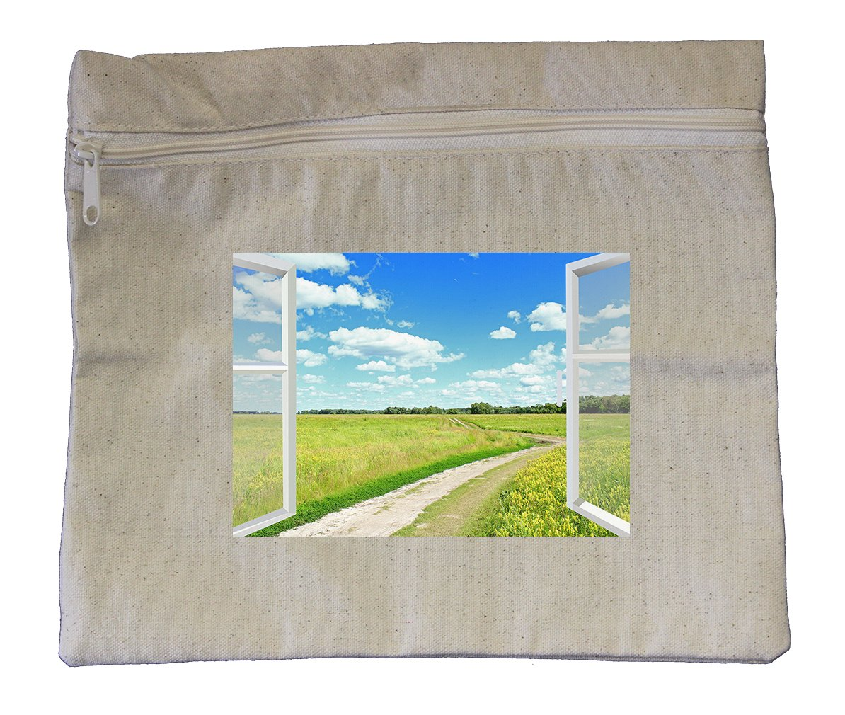 Canvas Zipper Pouch Tote Bag 10''X12'' Clouds Meadow And Country Road Style 1